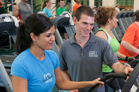 Student receiving personal training
